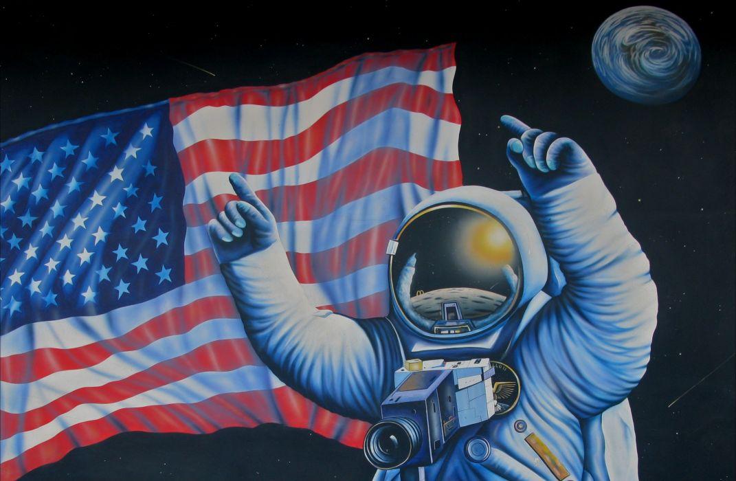 astronaut nasa space sci-fi usa flag art painting artwork wallpaper