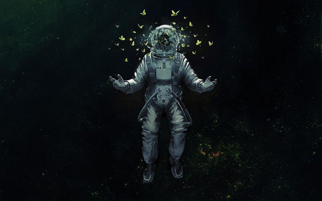 Astronaut Nasa Space Sci Fi Psychedelic Butterfly Butterflies Wallpaper