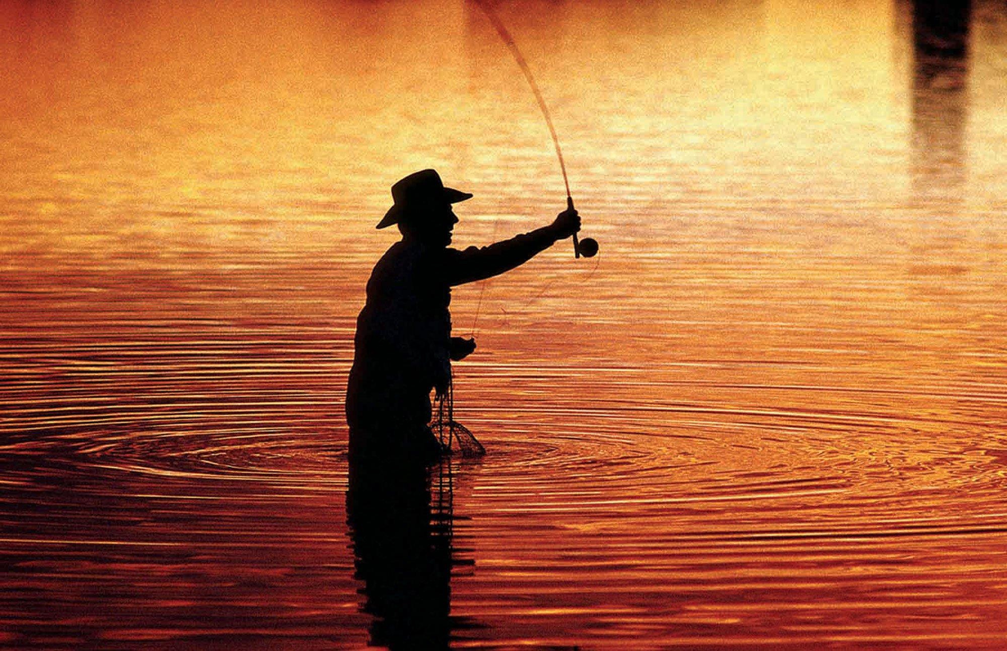 FISHING Fish Sports Sunset Sunrise River Wallpaper