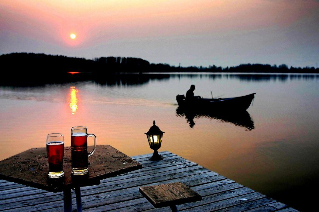 FISHING Fish Sports Wine Sunset Sunrise Lake Wallpaper