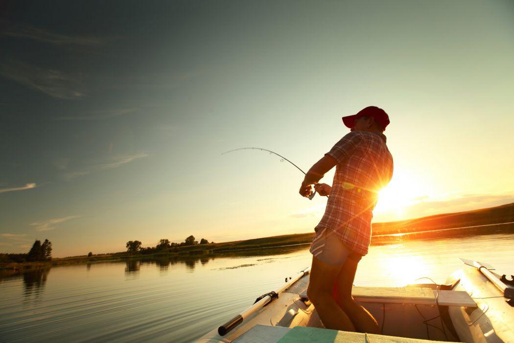 FISHING Fish Sports Sunset Sunrise Lake Wallpaper