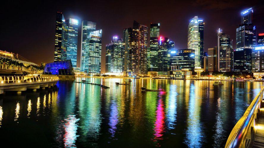 asia singapore city marina bay reflection wallpaper