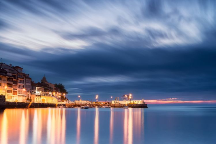 Biscay Bay Spain Asturias Spain port sea houses sunset evening night lights blue sky clouds landscape reflection city wallpaper