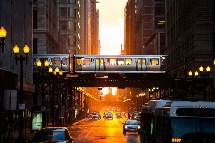 Chicago Illinois USA Chicago USA cities palaces buildings road car train subway street lights lights sunset evening wallpaper