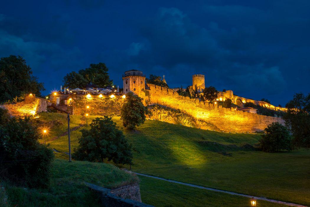 Fortress Belgrade Fortress Serbia Night Street lights Grass Trees Cities castle wallpaper
