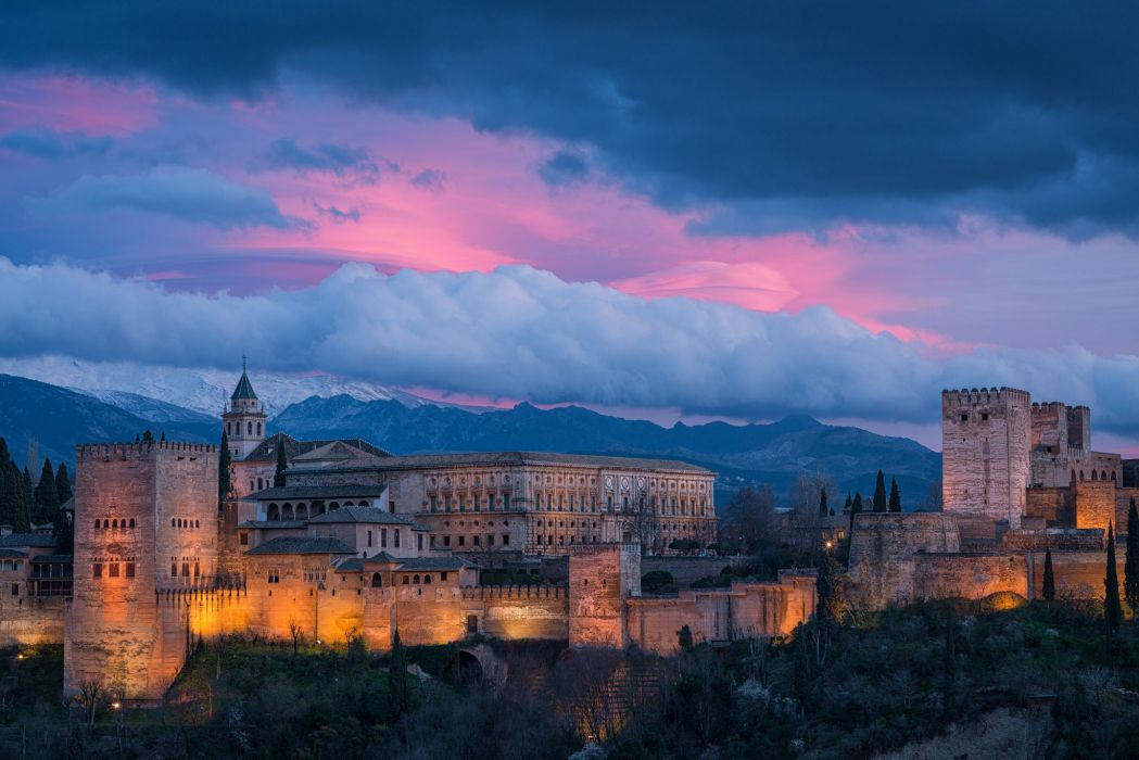 Granada Spain Alhambra Spain sky clouds mountains night sunset building monument lights city wallpaper