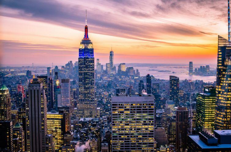 New York USA Manhattan Empire State Building New York USA skyscrapers buildings lights sky clouds night sunset twilight city wallpaper