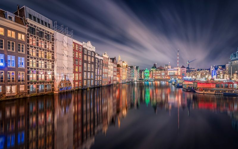 night grand central station houses amsterdam reflection wallpaper