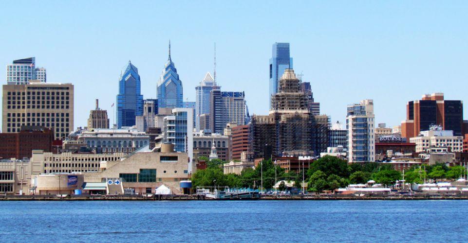 Philadelphia Penns Landing & Center City Skyline wallpaper