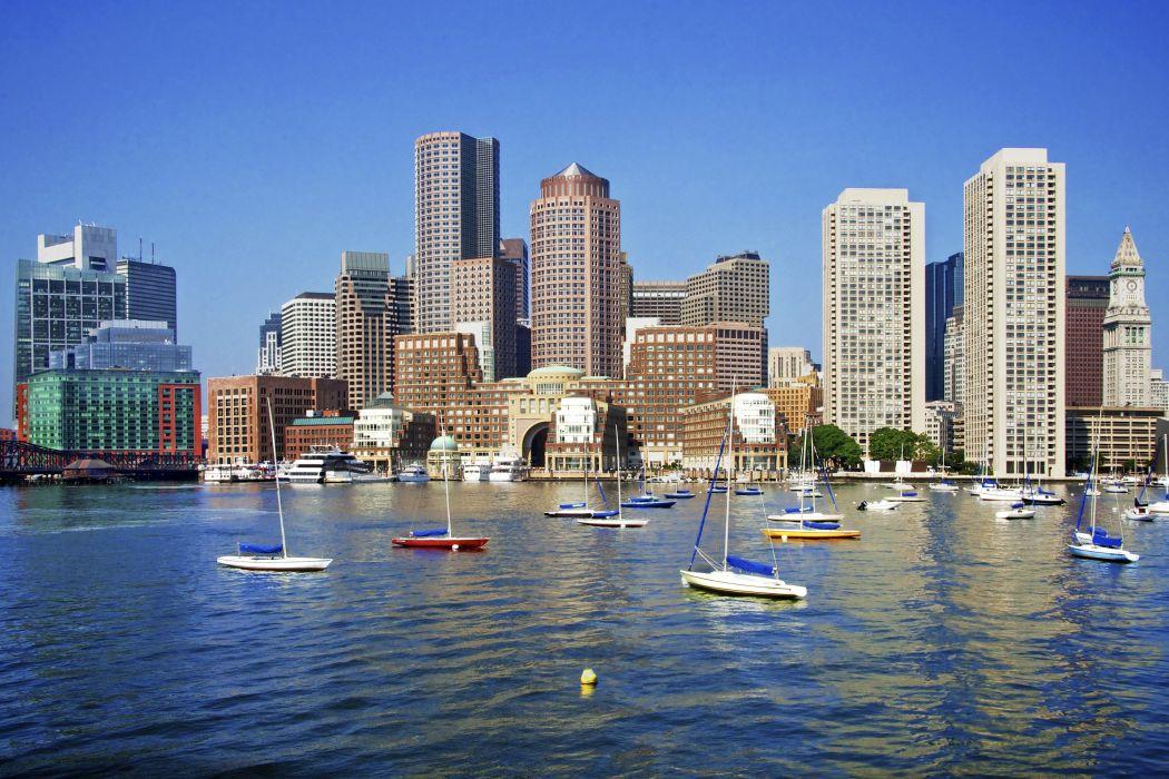 USA Skyscrapers Rivers Sailing Boats Boston Cities wallpaper