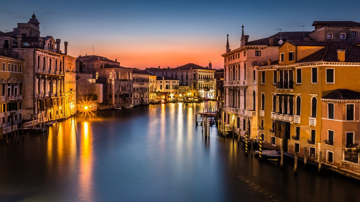 Venice Italy Canal Grande city night lights lamps lights houses buildings roofs sea gondola boats wallpaper