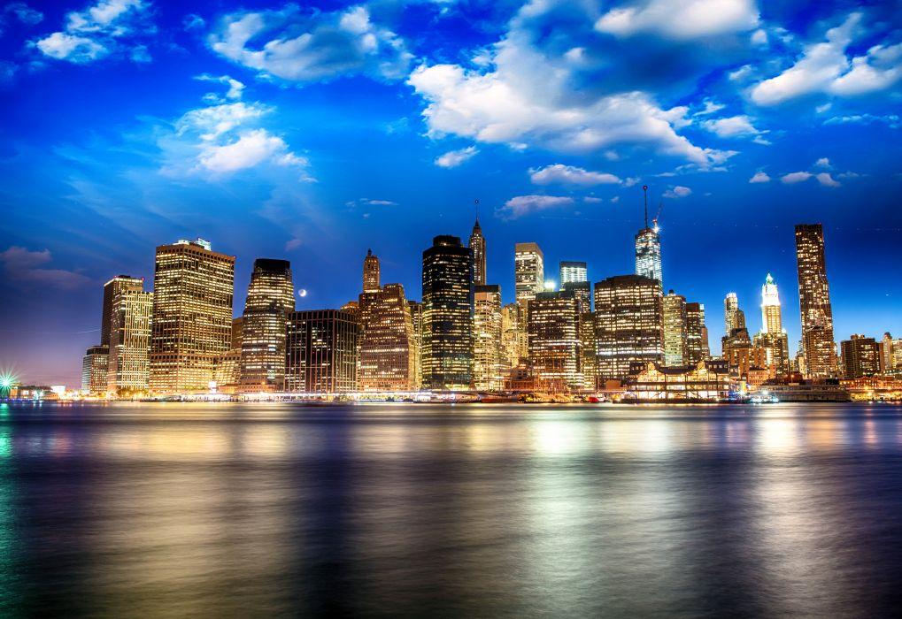 USA Skyscrapers Rivers Sky Brooklyn Bridge Park New York City Cities wallpaper
