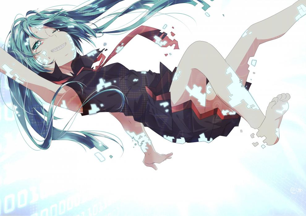 barefoot blue eyes blue hair cogumelian crying hatsune miku long hair skirt tears tie vocaloid wallpaper