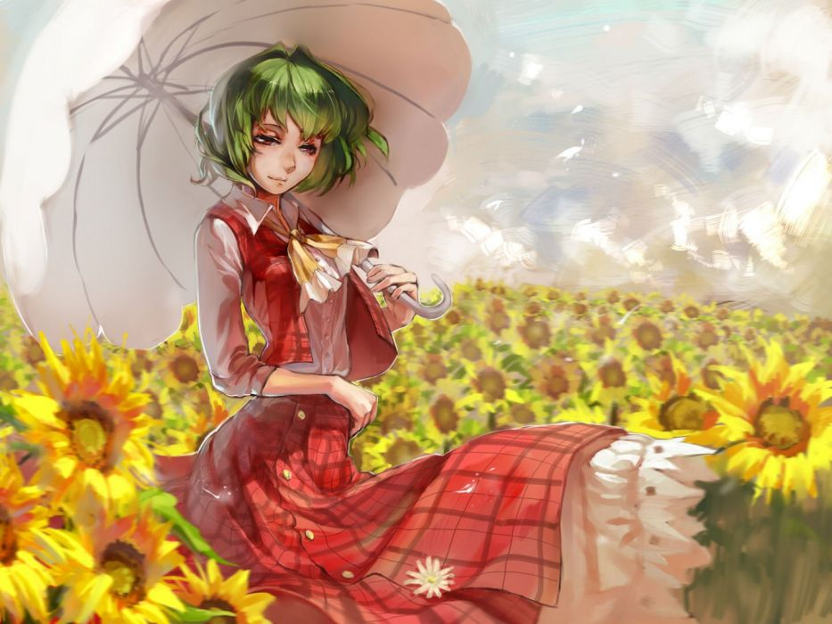 carrot (carrotsgame) flowers green hair kazami yuuka red eyes short hair skirt sunflower touhou umbrella wallpaper