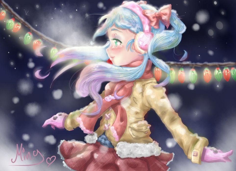 original winter headphones girl christmas wallpaper
