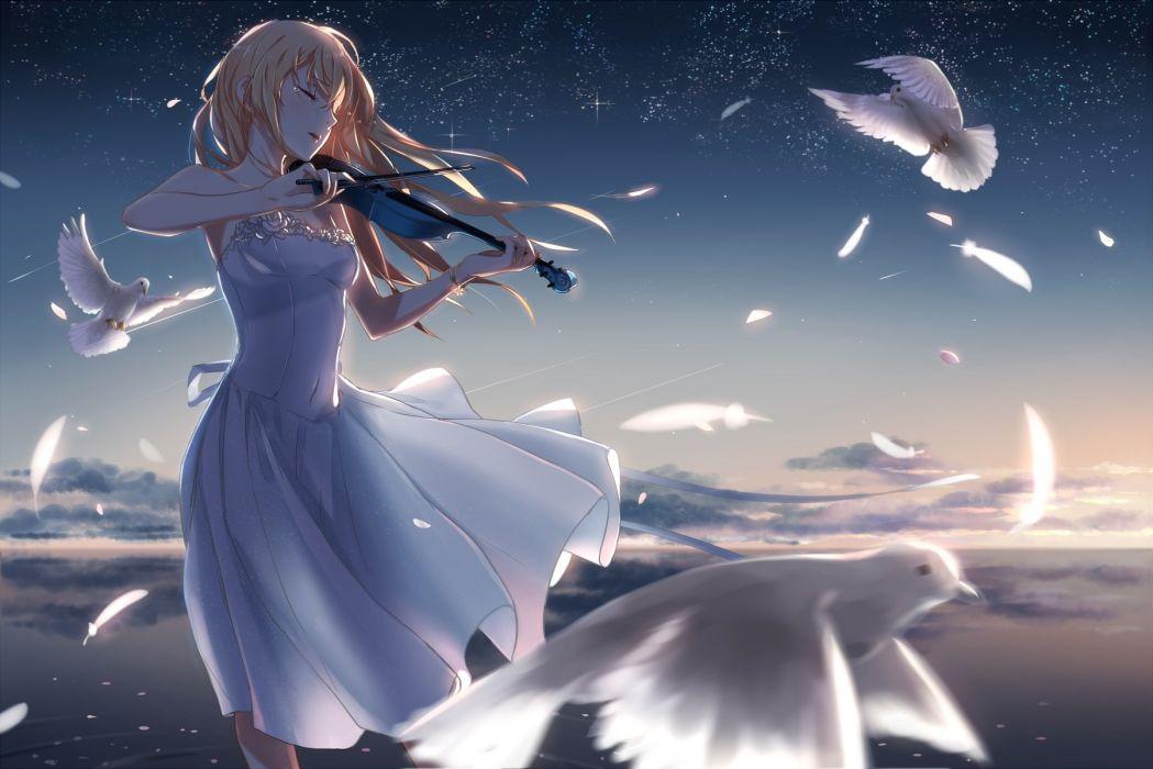animal bird blonde hair clouds dress feathers instrument long hair miyazono kawori petals phantania shigatsu wa kimi no uso sky tears violin water wallpaper