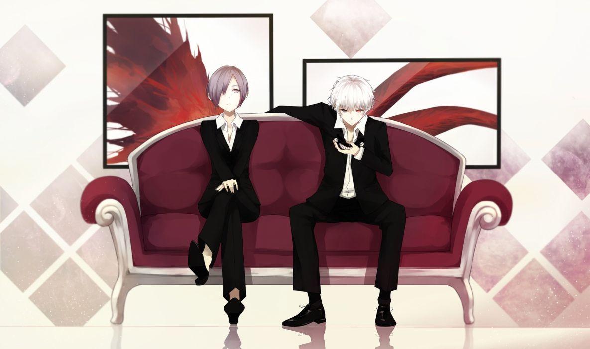 bicolored eyes gray hair kaneki ken kirishima touka levi9452 male mask shirt short hair suit tokyo ghoul white hair wallpaper