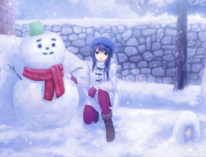black hair boots coffee-kizoku gloves hat long hair original pantyhose scan snow winter wallpaper