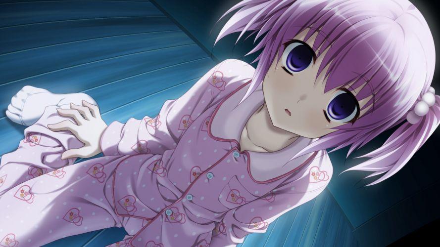 blue eyes game cg hisanaga kuon konata yori kanata made 2 pajamas pink hair twintails wallpaper