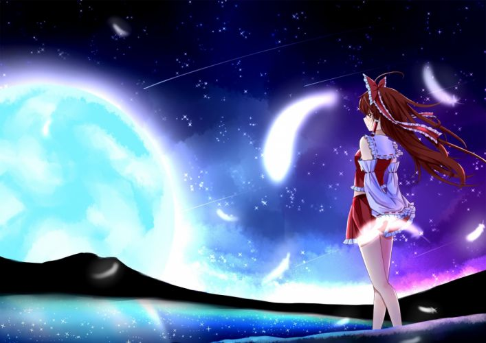 brown eyes brown hair hakurei reimu moon tianya beiming touhou wallpaper
