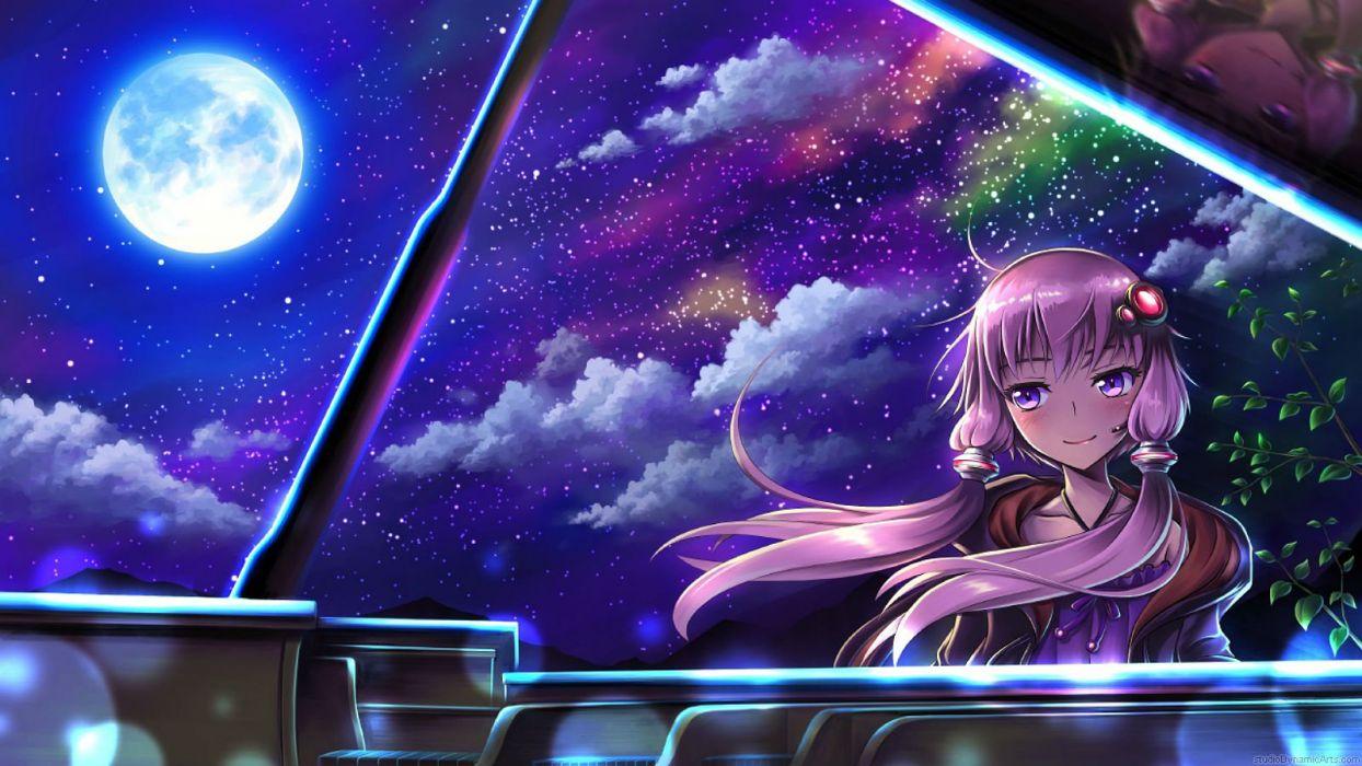 clouds instrument leaves microphone moon myungsoolim night piano purple eyes sky stars twintails vocaloid watermark yuzuki yukari wallpaper