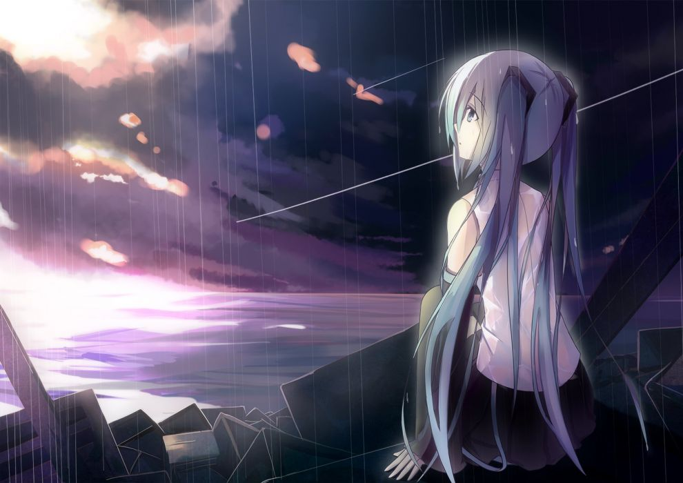 dark hatsune miku long hair polychromatic rain tianya beiming twintails vocaloid water wallpaper
