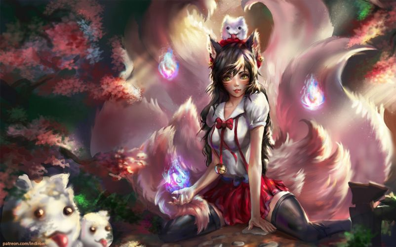 animal animal ears bell brown hair cherry blossoms fox foxgirl indiron league of legends magic multiple tails skirt tail thighhighs yellow eyes wallpaper
