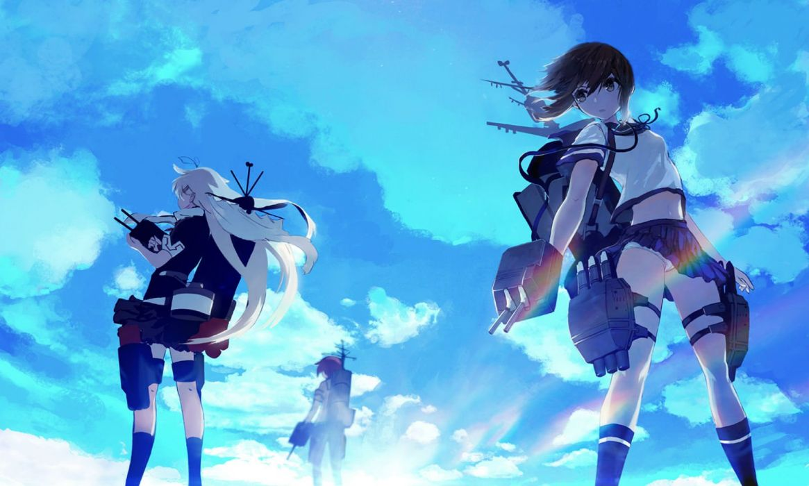 anthropomorphism blonde hair brown hair clouds fubuki (kancolle) kantai collection long hair panties seifuku sixingcao skirt sky underwear upskirt wallpaper