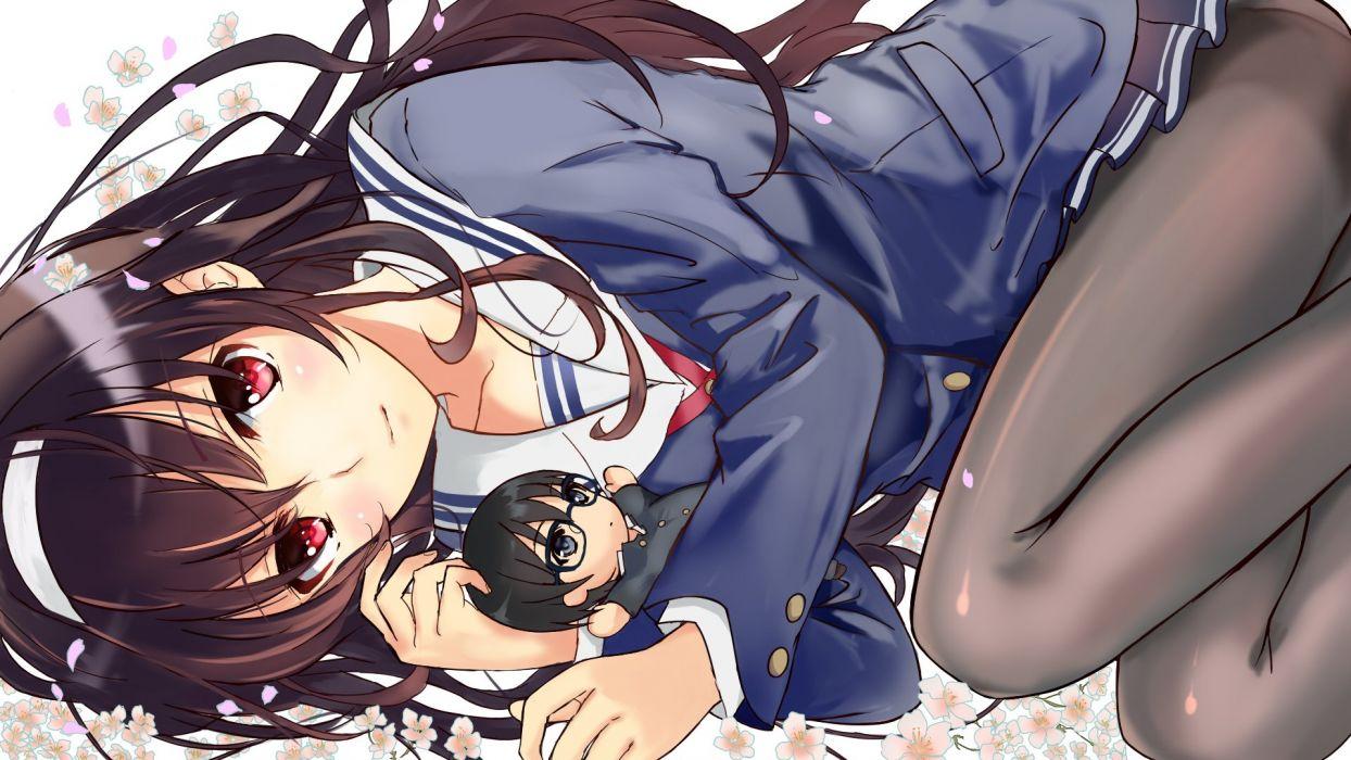 black hair chibi flowers kasumigaoka utaha nagata ozu panties pantyhose saenai heroine no sodatekata seifuku underwear wallpaper