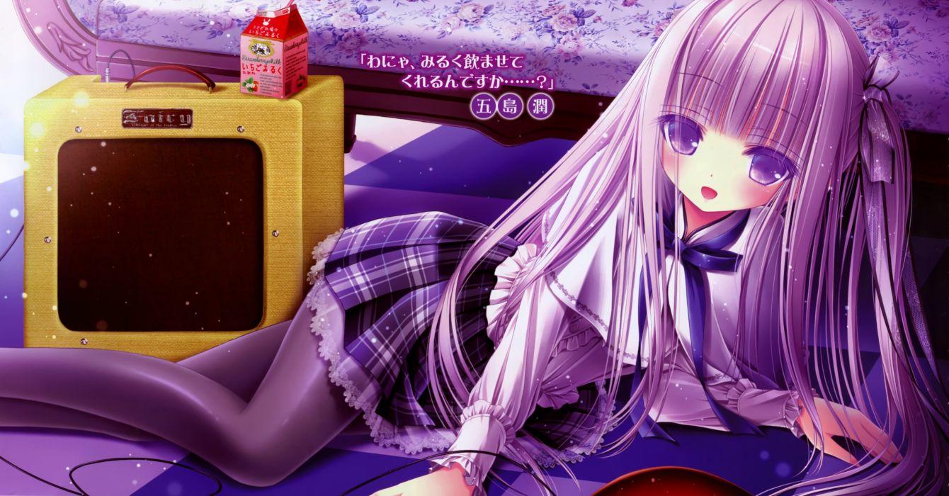 dress drink goto jun harukaze setsuna long hair pantyhose purple scan skirt tenshi no three piece! tinkle wallpaper