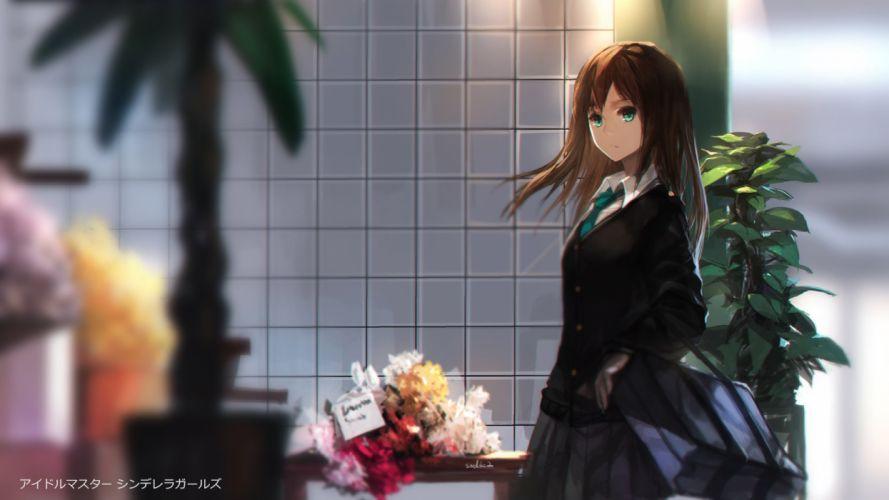 brown hair flowers green eyes idolmaster idolmaster cinderella girls leaves long hair seifuku shibuya rin signed skirt swd3e2 tie wallpaper
