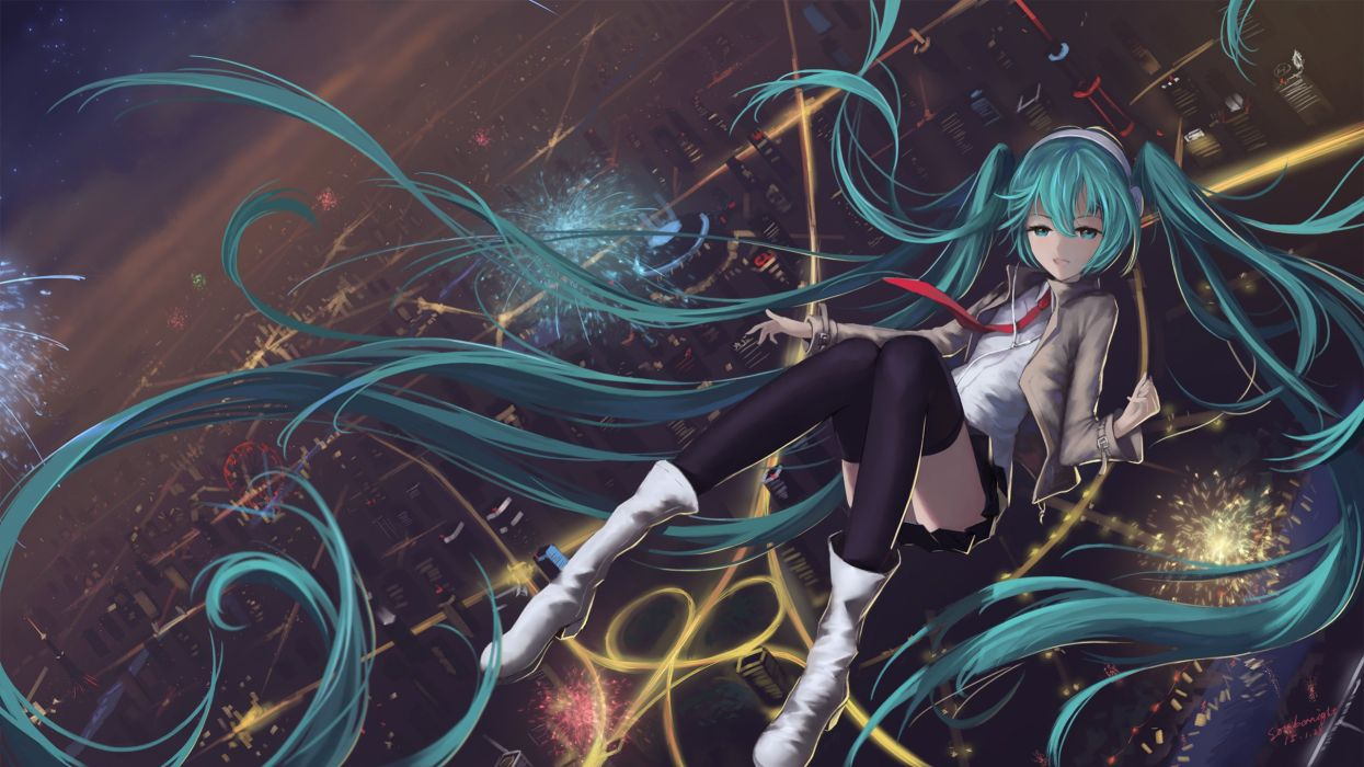 aqua eyes aqua hair boots city fireworks hatsune miku headphones long hair skirt sombernight thighhighs tie twintails vocaloid wallpaper