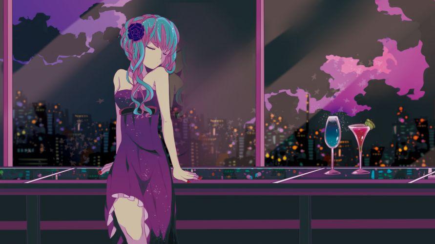 aqua hair city dress drink hatsune miku long hair marirero a polychromatic scenic vocaloid wallpaper