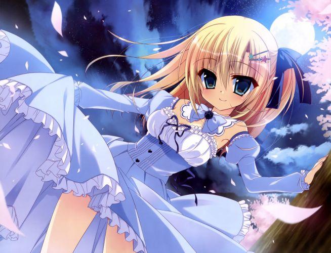 blonde hair dress long hair moon nanaca mai night original petals skirt skirt lift wallpaper