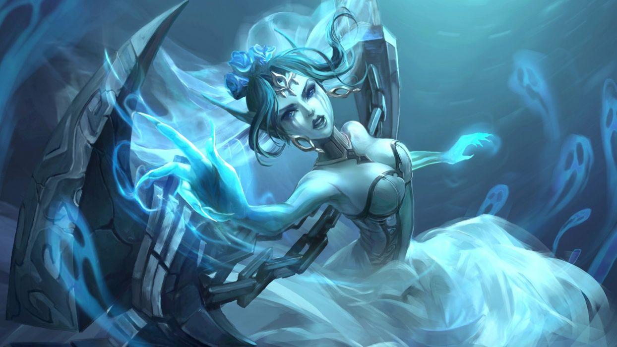 blue blue eyes blue hair breasts chain choker cleavage flowers headdress koloromuj league of legends magic rose wedding attire wings wallpaper