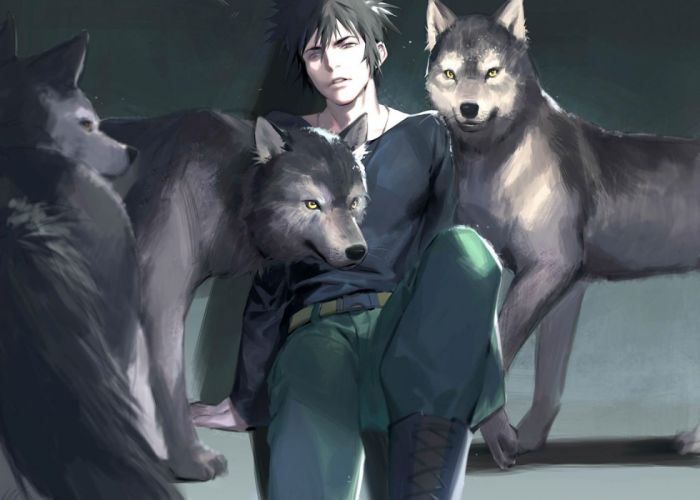all male animal black hair kougami shinya male naked cat necklace psycho-pass short hair wolf wallpaper