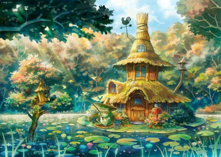 animal forest frog kemi neko landscape original scenic tree water wallpaper