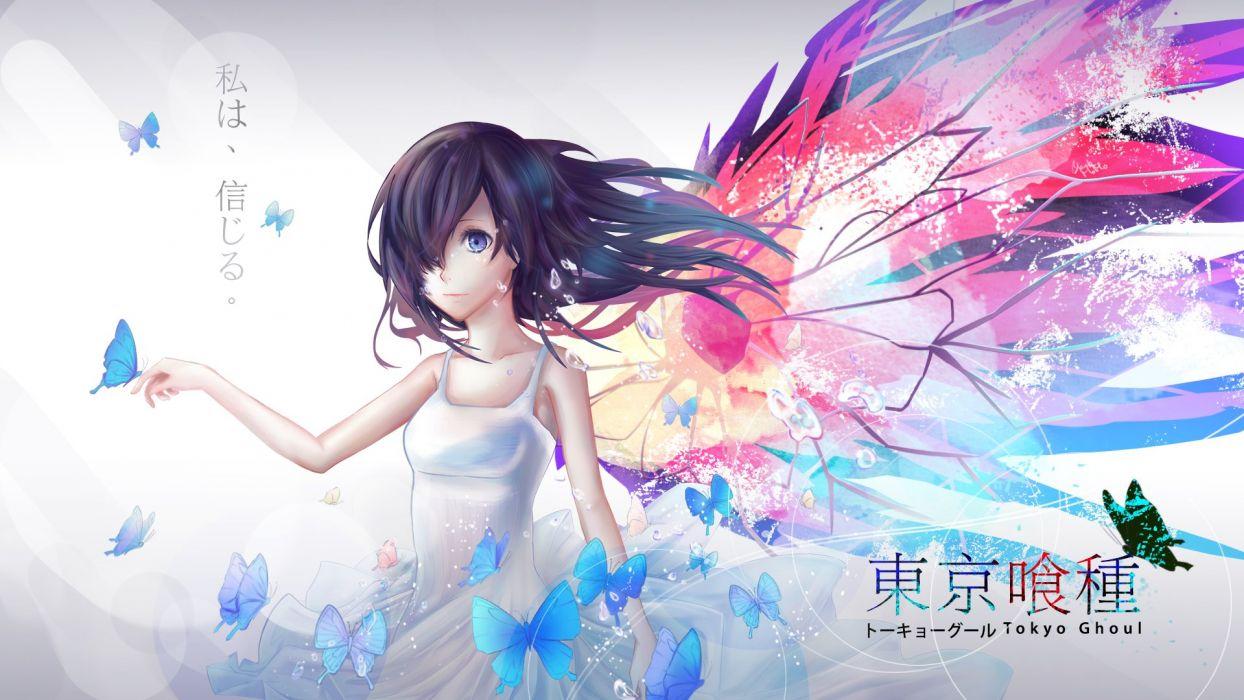 black hair blue eyes butterfly dress kirishima touka logo tokyo ghoul wallpaper