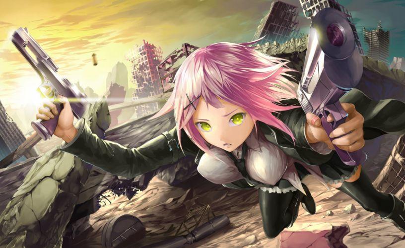 boots green eyes gun original pink hair ruins short hair skirt thighhighs tie tyappygain weapon wallpaper