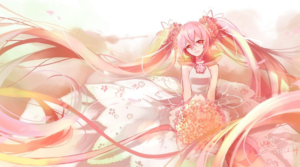 dress flowers hatsune miku long hair pink hair polychromatic red eyes sakura miku signed twintails vilor vocaloid wallpaper
