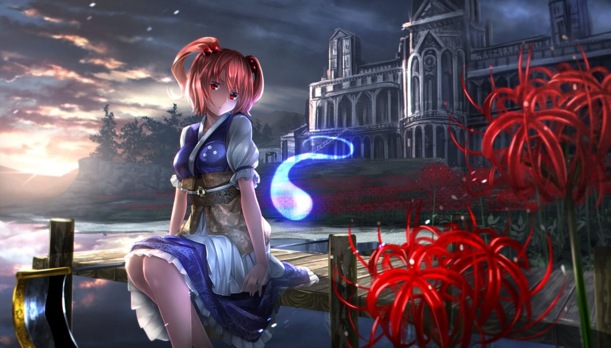 building clouds dress flowers onozuka komachi red hair ryosios scenic scythe short hair sunset touhou tree twintails water weapon wallpaper