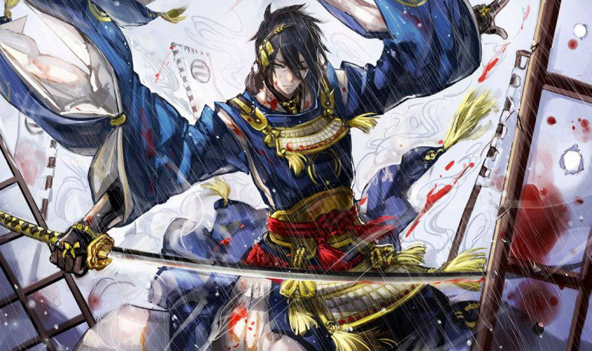 all male armor blood gloves green eyes japanese clothes katana male mikazuki munechika ryuuzaki ichi short sword touken ranbu weapon wallpaper