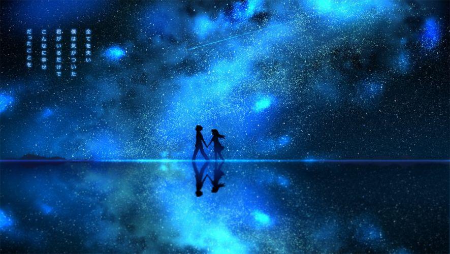 akisorapx blue monochrome night original scenic silhouette stars water wallpaper