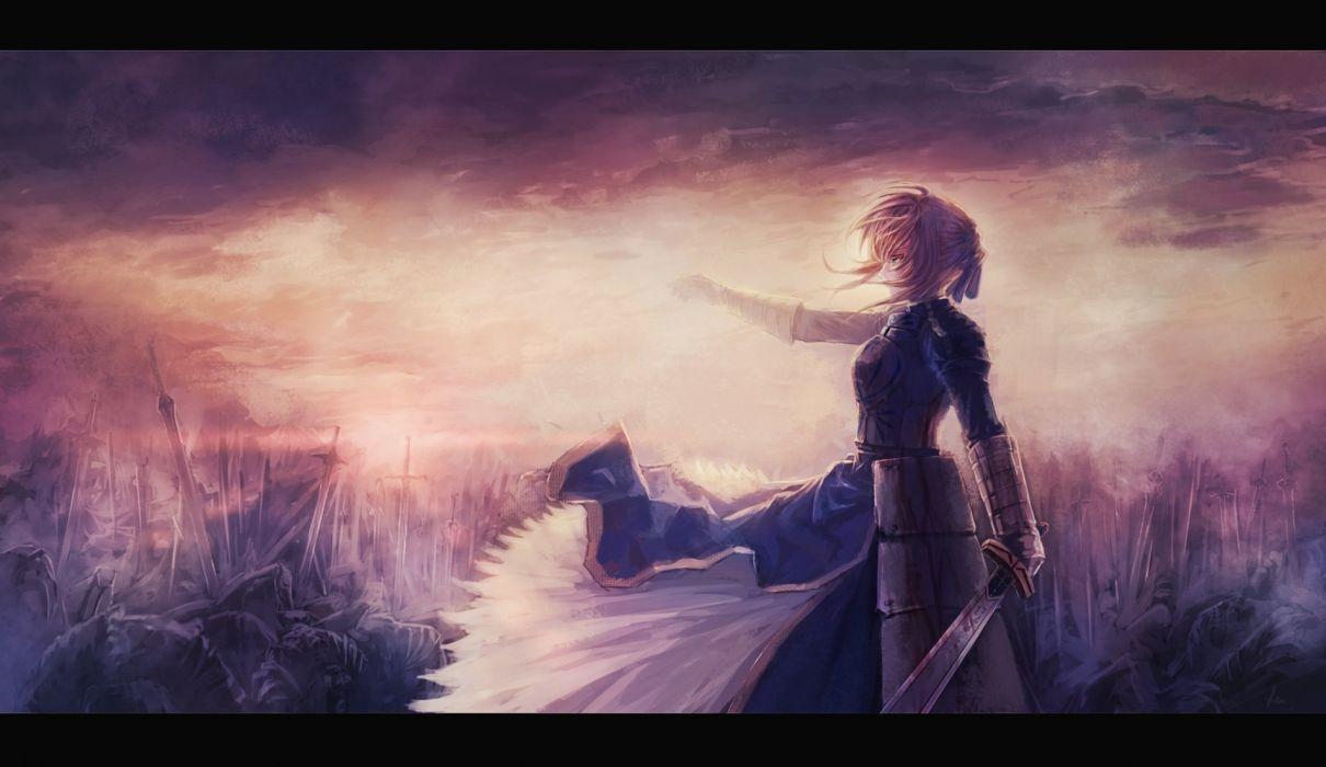 armor blonde hair blood clouds dress fate stay night heiyuen saber short hair signed sky sunset sword weapon wallpaper