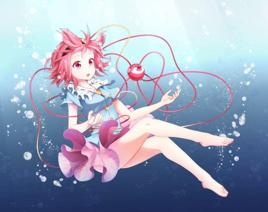 barefoot bubbles headband komeiji satori nogisaka kushio pink eyes pink hair short hair skirt touhou underwater water wallpaper