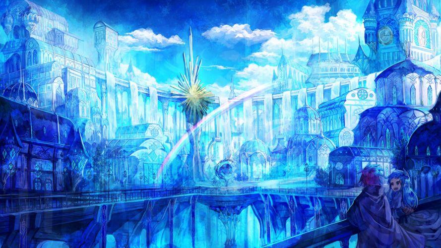 blue blue hair city clouds long hair original polychromatic rainbow scenic wallpaper