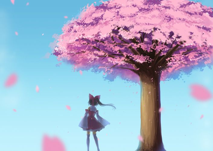 cherry blossoms hakurei reimu ribbons touhou tree wallpaper