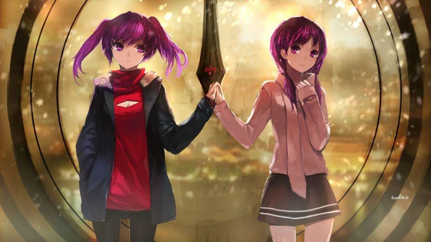 girls aisha (elsword) elsword long hair pantyhose purple eyes purple hair skirt swd3e2 twintails wallpaper
