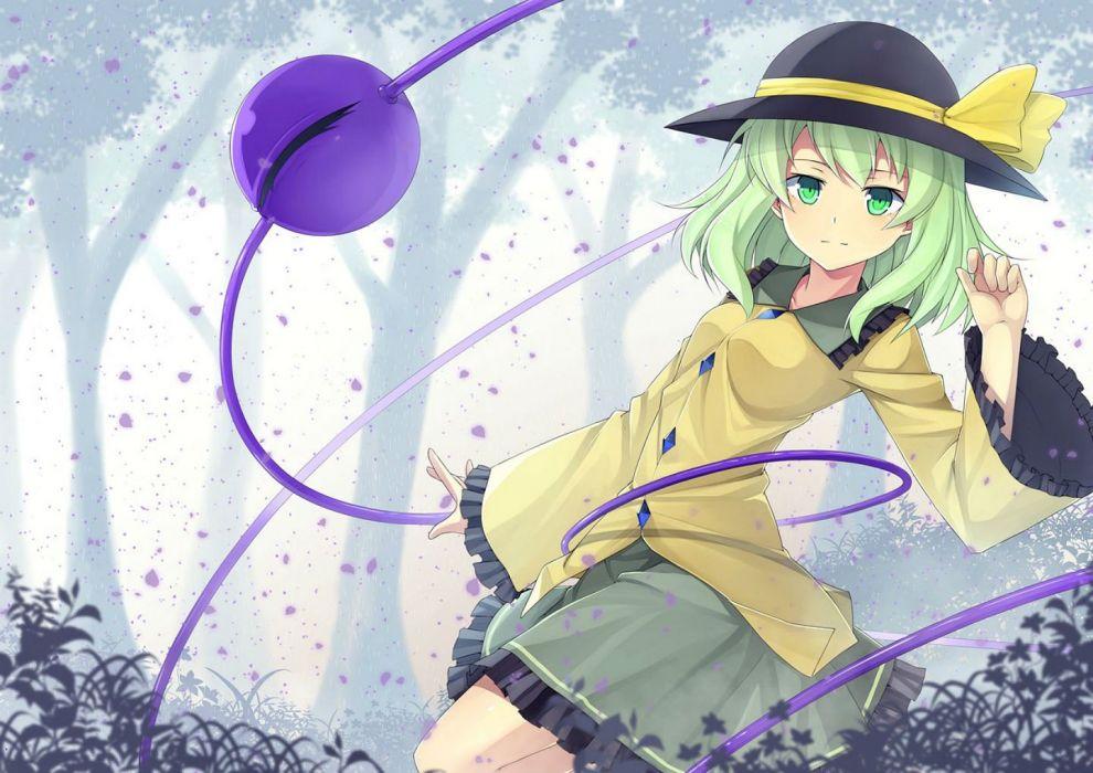 green eyes green hair hat komeiji koishi leaves mzrz skirt touhou tree wallpaper