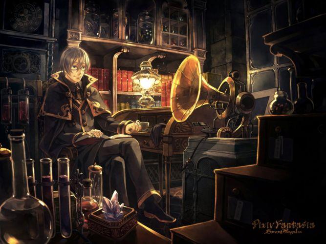 all male book dark drink glasses instrument logo male minami seira pixiv fantasia short hair wallpaper